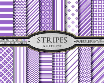 Purple Stripe Digital Paper Pack - Printable Backgrounds for Scrapbook Design - Instant Download
