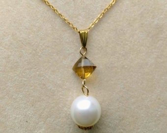 Genuine South Sea 14 mm Pearl Pendant, Large Pearl Pendant, Faceted Smokey Quartz Diamond, Gold Filled Chain- Birthday Gift by enchantedbeas