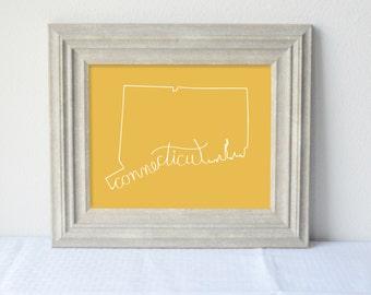 Printable Connecticut State Art Print 8x10 Digital Wall Art Gift