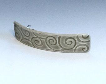 Large Gray Barrette, Porcelain Barrette, Ceramic Barrette, French Barrette, Gray Ceramic Hair Clip, Hair Barrette, Swirl Pattern Barrette