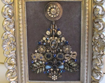 Jeweled Framed Jewelry Art Christmas Tree Silver Gray Blue Navy Vintage Art Deco