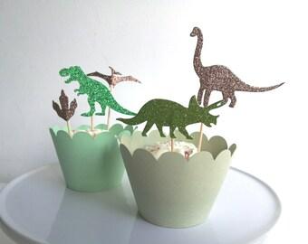 Dinosaur Cupcake Toppers Glitter Green x 12