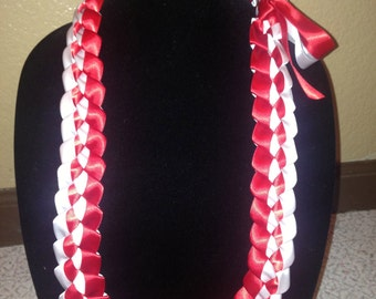 Custom Two Ribbon Braided Ribbon Leis - You Choose Colors (graduation, birthday, special occasion)