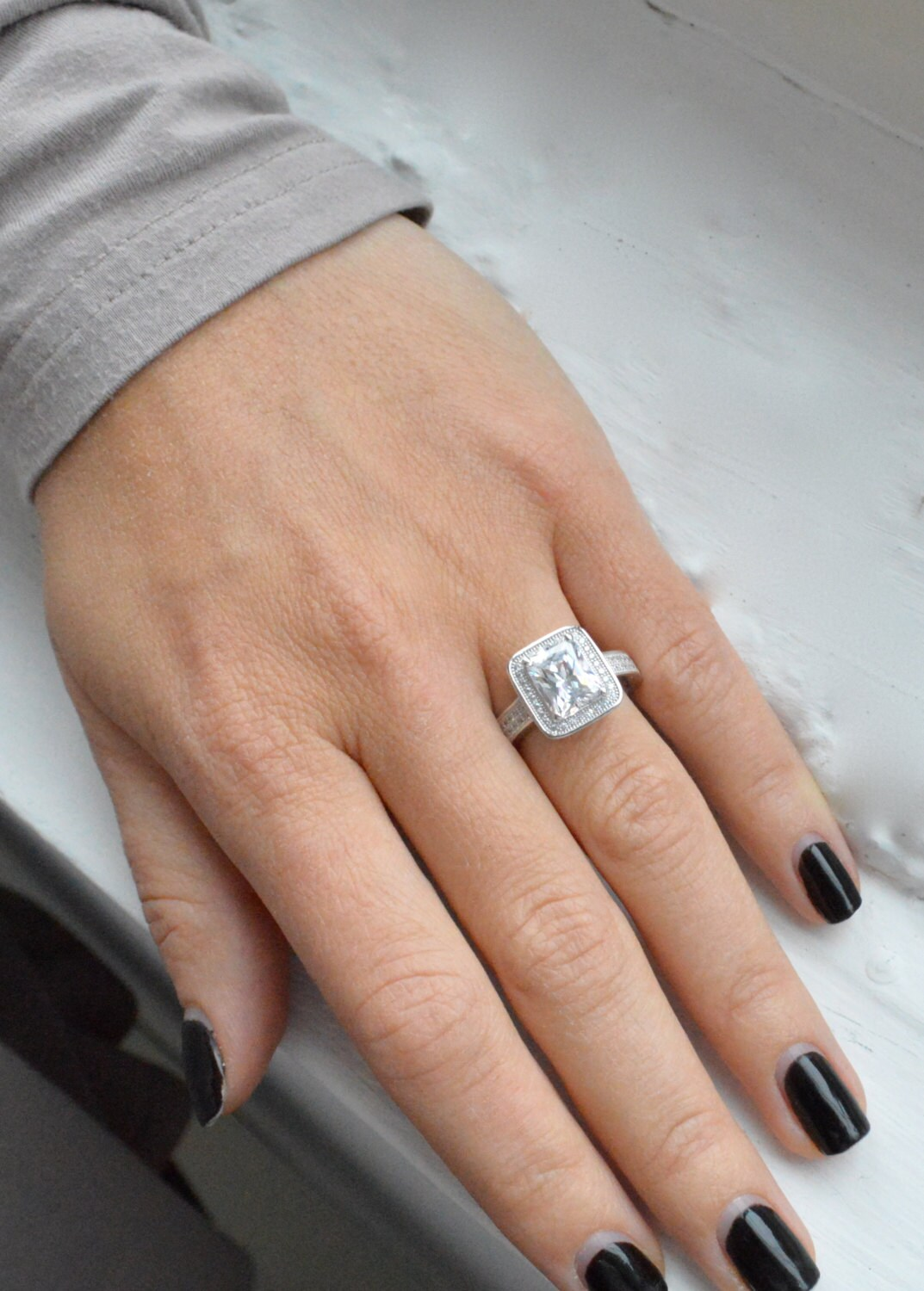 Emerald Cut Engagement Ring Micro Pave Halo Engagement Ring