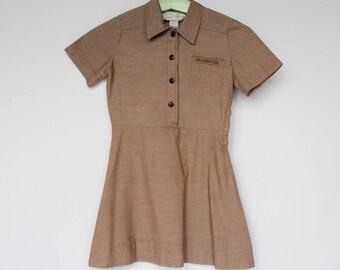 60's Girls Brownie Girl Scout Uniform / Short Sleeve Shirtwaist Dress