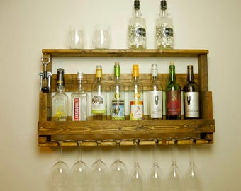 Rustic Wine Rack with LED Lights
