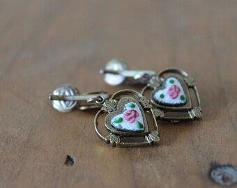 Vintage Guilloche Heart Earrings, Retro Costume Jewelry, Circa 1970's