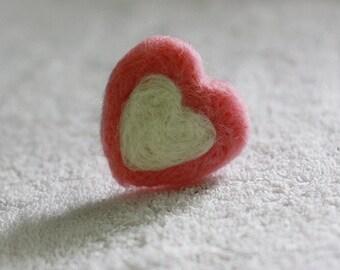 3 pieces Felt Heart Handmade,Pink wool felted heart, photo prop,Heart Garland, cute wool heart