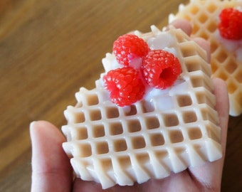 Waffle soap Breakfast Waffle Soap Dessert soap Raspberry waffle soap Fake Food Soap Prank Soap Food Soap Novelty Soap Gag Gift Funny Soap