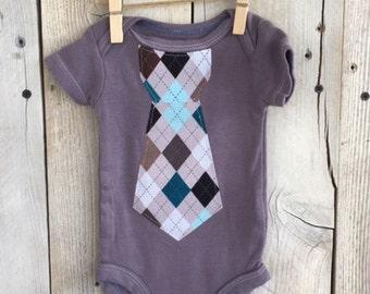 Newborn Bodysuit with an Argyle Iron On Tie Gray