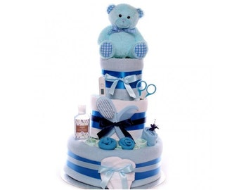 Teddy Bear Nappy Cake For A Baby Boy, nappy cake baby boy with soft teddy, quick delivery perfect for a baby shower or new baby gift.
