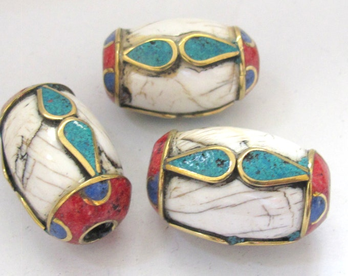 1 BEAD - Large thick ethnic naga conch shell bead with turquoise coral lapis inlay  - CH045