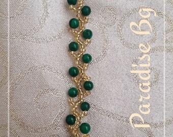 Green Jade with glass seed beads