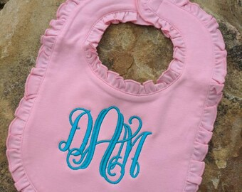 Personalized baby girl ruffle bib, monogram baby bib, monogrammed baby bib, personalized baby bib, monogram baby gift, baby shower gift