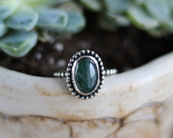 Moss agate ring, handmade silver ring, moss agate silver ring, bohemian jewelry, boho silver ring, natural stone ring, size 8 ring