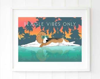 Beagle art Dog mom gifts Pop art gift idea Tropical wall decor gift for her Hound dog modern art gift for wife Dog art Dog lover presents