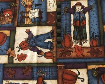 Pumpkins & Scarecrows (4) Cloth Dinner Napkins