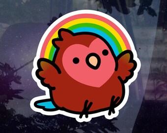 "Rainbow Cody the Lovebird 3.5"" Sticker [Outdoor Quality]"