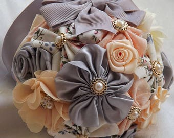 Fabric and Satin Flower Pomander Kissing ball for bridesmaids, flowers girls Good luck decoration