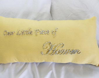Our Little Piece of Heaven - Baby Pillow - Religious Baby Gift - Yellow and Gray Nursery - Gender Neutral Nursery Decor - Chevron Baby
