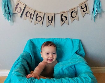 BABY BOY- Kraft handlettered bunting banner with blue tassels- handmade gender reveal party baby shower shabby chic nursery decor photo prop