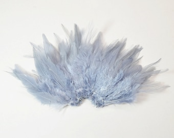 Rooster Saddle Feathers - Mid Grey, 2 inch strip (50-60pcs) #16