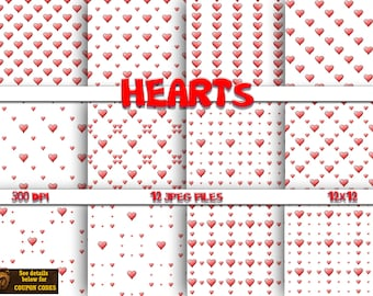 Hearts digital paper, background, scrapbook