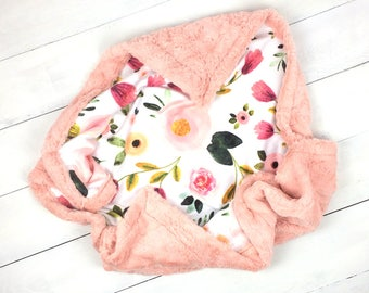 Baby minky blanket, floral blanket, pink peach girl blanket, flowers rose peony blanket, cuddle baby shower gift, birth gift, adult size