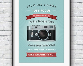 Life is like a camera, Quote print, Motivational print, Camera Print, Housewarming Gift, Inspirational art,  Wall Decor