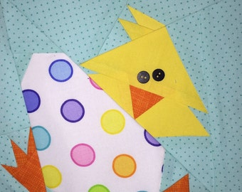 HAPPY EASTER DUCKY Paper Pieced Block Pattern in pdf