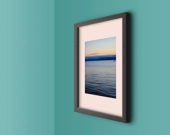 lake champlain, burlington, vermont, green mountains, sunset, summer, new england, lake house decor, photography, fine art print