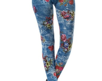 Rose Print Denim Leggings, Leggings for women, Printed Leggings
