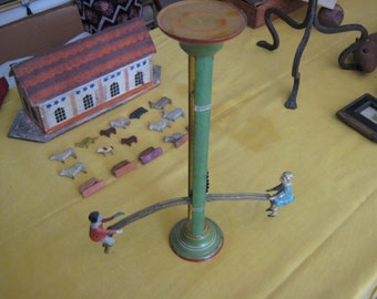 Vintage Gibbs Tin Never Ending See Saw Toy Pre WWII