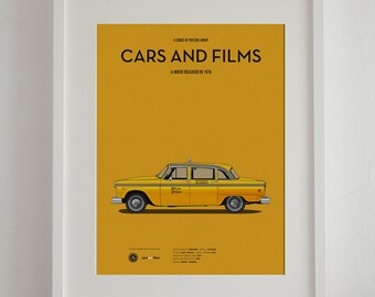 Taxi Driver car movie poster, art print A3 Cars And Films, home decor prints, illustration print. Car print