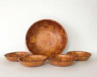 Mid Century Woven Wood Salad Bowl Set, Vintage Wood Bowl Set, Wood Bowl, Woven Wood, Salad Bowls, Serving Bowls, Vintage Wood Bowls,