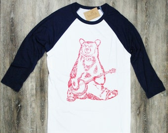 Womens TShirt - Baseball T Shirt - Banjo Bear Tee - Womens Baseball Tee - Womens Animal Tshirt - Bear Tshirt - Womens Tees - Crew Neck Tees