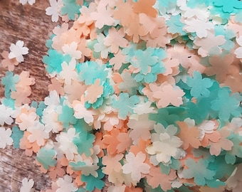 Dark Mint green, Ivory and Peach cherry flower wedding throwing confetti!Party Table  Decoration.Romantic  spring summer.ECO,2-20 handfuls