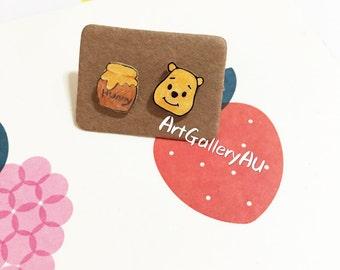 Disney Winnie the Pooh Earrings, Cute Pooh Bear Studs, Honey Stud Earrings, Kawaii Mismatched Handmade Cartoon Character, Gift for Her