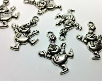 x 1 charm - snowman - Winter Ski Mountain - shimmering silvery Metal