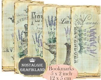 Lavender Bookmarks Instant Download digital collage sheet E168 Vintage Paper Flowers