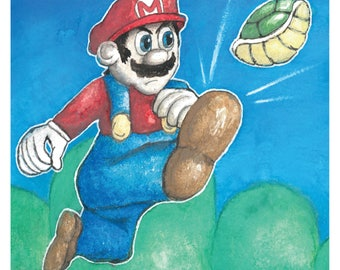 Super Mario Nintendo Watercolor 8x10 Art Print