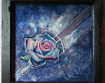 Stained glass painting / Deep Blue of Rose