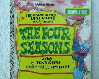 JUNE SALE The Four Seasons, A Little Golden Book, Vintage Children's Collectible Book by The Sesame Street Little Theater