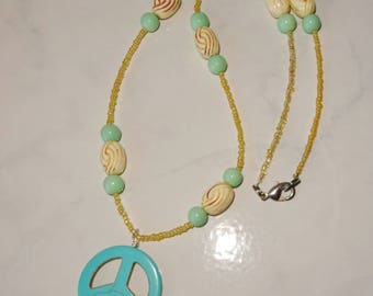 Turquoise Peace Sign Necklace Handmade Beige Aqua Necklace