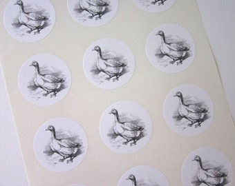 Goose Stickers One Inch Round Seals
