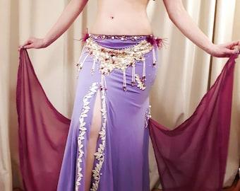 Lilac handmade belly dance costume