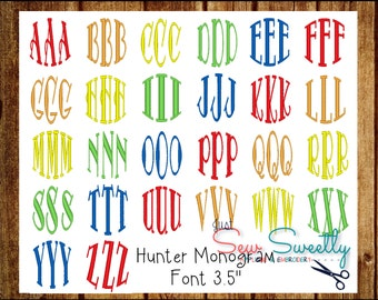 Hunter Circle Monogram Embroidery Font - 3.5 inch