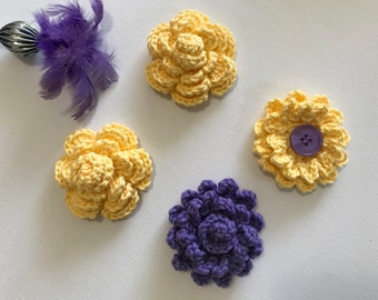 Crochet flowers, crochet appliqués, stocking stuffers,flower appliqués, embellishments, Set of four flowers, yellow flower, purple flower,