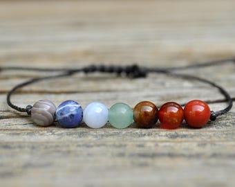 7 Chakra Bracelet, Energy Bracelet, Yoga Bracelet, Meditation Bracelet, Intent Bracelet, Chakra Bracelet, Mens Protection Bracelet, Rainbow