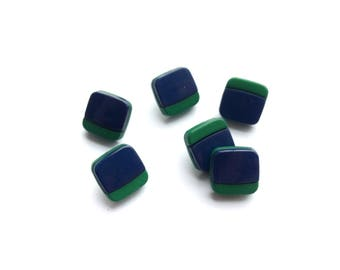 6 Square Navy Blue & Green Plastic Buttons, 11mm
